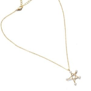 Gold Hollow Star Pearl Pentagram Charm Necklace